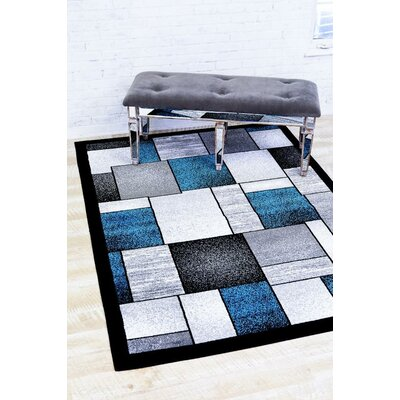 Bennet Turquoise/Gray Indoor/Outdoor Area Rug Rug Size: 52 x 72