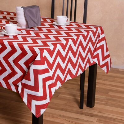 Kirkman Rectangular Cotton Tablecloth Color: Red/White, Size: 60