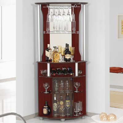 Mullikin Bar With Wine Storage Color: Mahogany