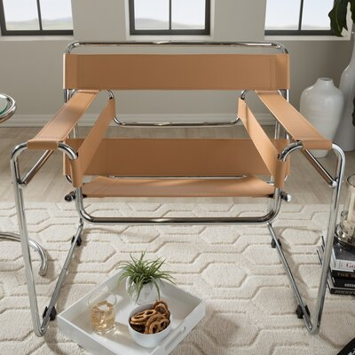 Somnus Bonded Leather Armchair Color: Tan