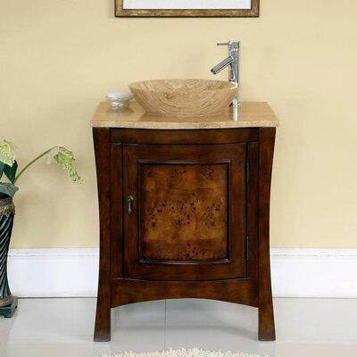 Crisler 26 Single Bathroom Vanity Set Base Finish: Red Chestnut / Antique Brass