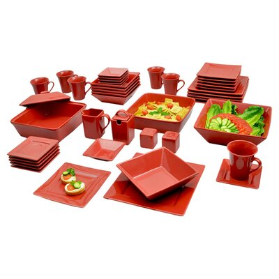 Jarrett 45 Piece Square Dinnerware Set Color: Red
