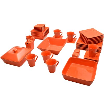 Jarrett 45 Piece Square Dinnerware Set Color: Orange