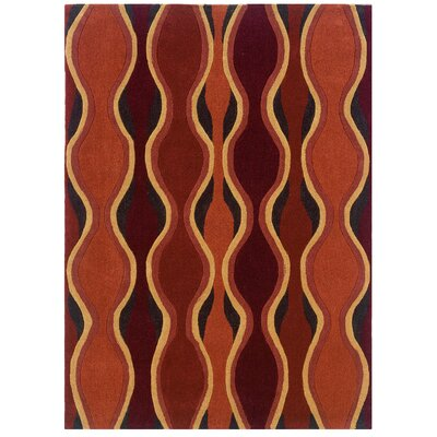 Lynx Hand-Tufted Orange/Red Area Rug Rug Size: 110 x 210