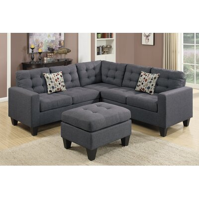 Pawnee Modular Sectional with Ottoman Upholstery: Blue/Gray