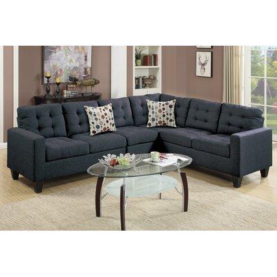 Prescot Reversible Sectional Upholstery: Black