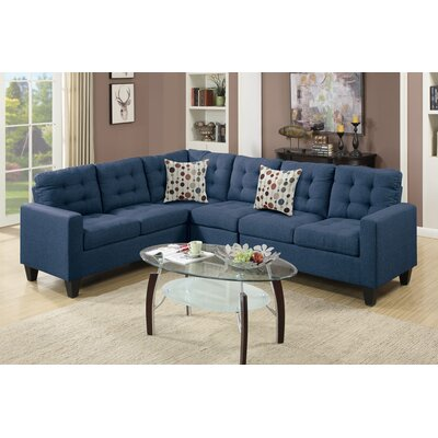 Prescot Reversible Sectional Upholstery: Navy