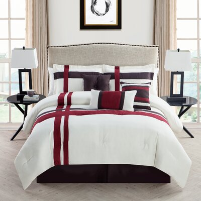 Eaton 7 Piece Comforter Set Color: Ivory / Red, Size: Queen