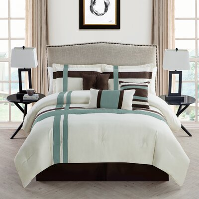 Eaton 7 Piece Comforter Set Size: King, Color: Ivory/Blue