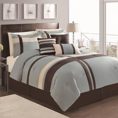 Eaton 7 Piece Comforter Set Color: Blue/Chocolate, Size: Queen