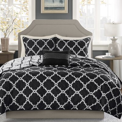 Winard 4 Piece Reversible Coverlet Set Size: Full / Queen, Color: Black