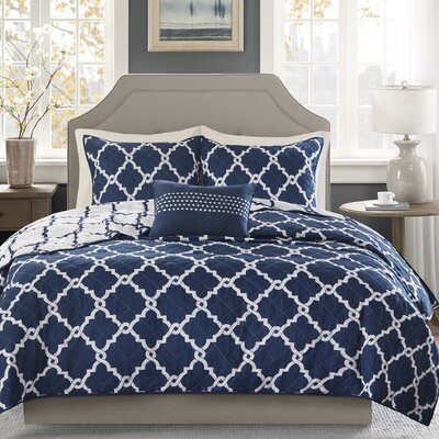 Winard 4 Piece Reversible Coverlet Set Size: King / California King, Color: Navy