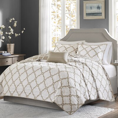 Winard 4 Piece Reversible Coverlet Set Size: Full / Queen, Color: Tan