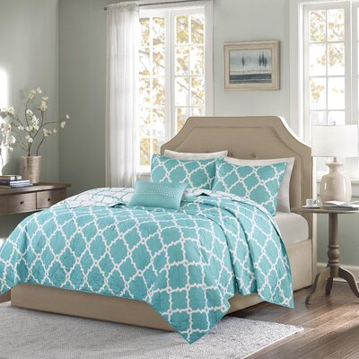 Winard 4 Piece Reversible Coverlet Set Size: King / California King, Color: Aqua