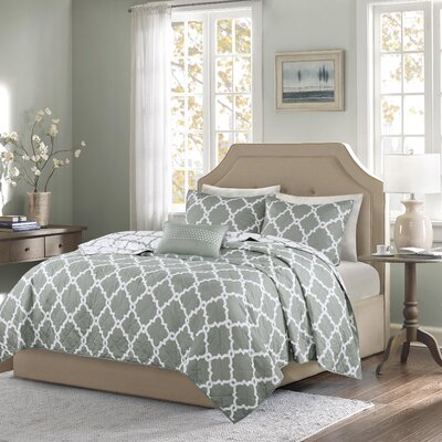 Winard 4 Piece Reversible Coverlet Set Size: Full / Queen, Color: Gray