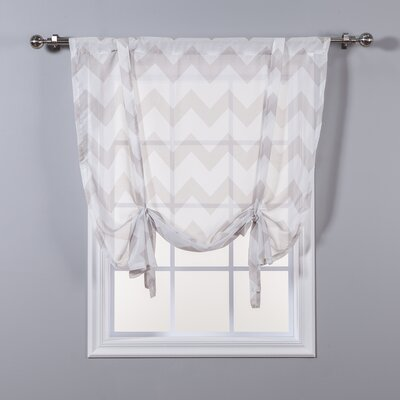 Sheer Chevron Tie-Up Shade Color: Taupe