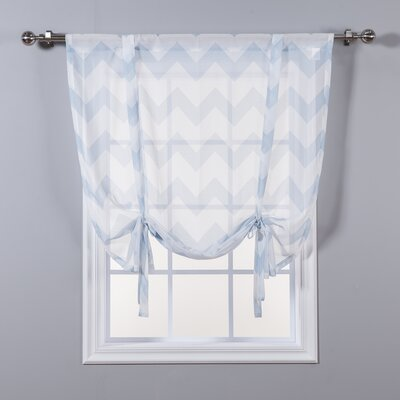 Sheer Chevron Tie-Up Shade Color: Sky Blue