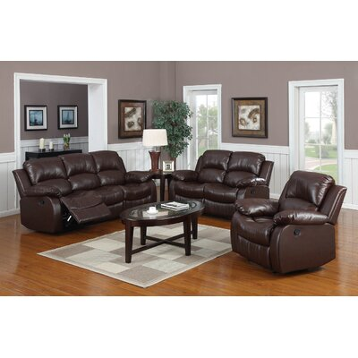 Bryce 3 Piece Living Room Set Upholstery: Brown