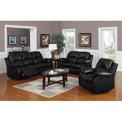 Bryce 3 Piece Reclining Living Room Set Upholstery: Black