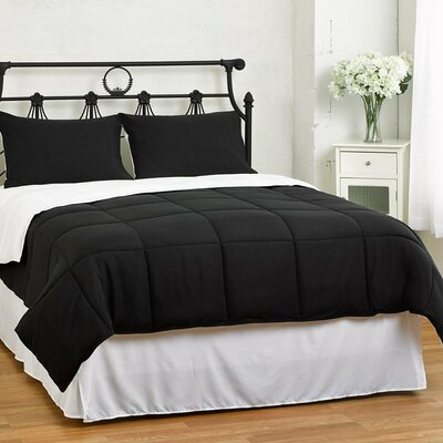 Lucas Reversible Comforter Size: Full / Queen, Color: Black / White