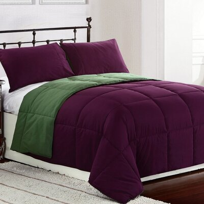 Lucas Reversible Comforter Color: Purple  / Green, Size: King / Cal King