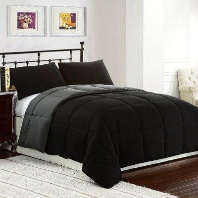 Lucas Reversible Comforter Color: Black / Gray, Size: King / Cal King