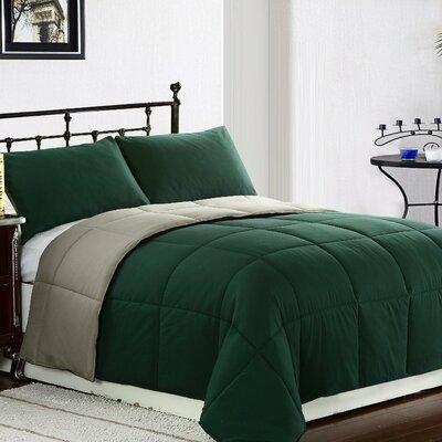 Lucas Reversible Comforter Color: Hunter Green / Sage, Size: Full / Queen