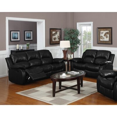 Bryce 2 Piece Reclining Living Room Set Upholstery: Black