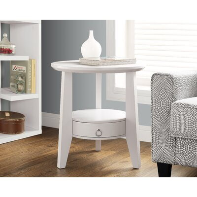 Sandara End Table With Storage Color: White