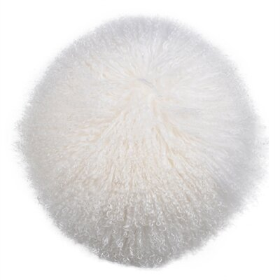 Kaden Lamb Fur Throw Pillow Color: White