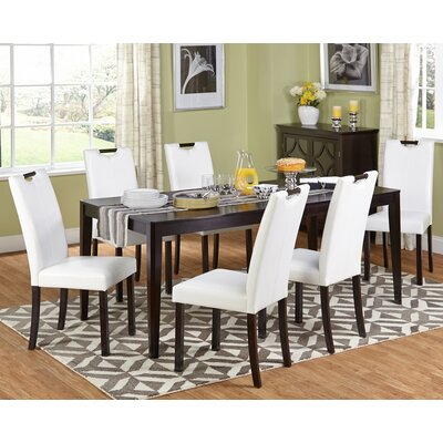 Cox 7 Piece Dining Set Upholstery: White