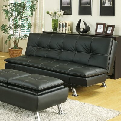 Baize Sleeper Sofa Upholstery: Black
