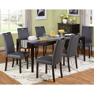 Cox 7 Piece Dining Set Upholstery: Gray