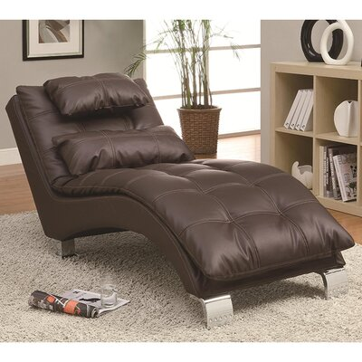 Baize Chaise Lounge Upholstery: Dark Brown