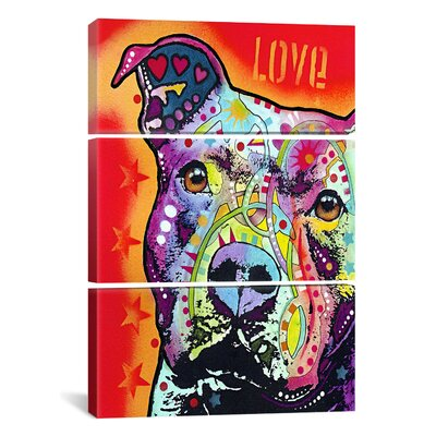 Thoughtful Pit Bull 3 Piece Graphic Art on Wrapped Canvas Set Size: 60