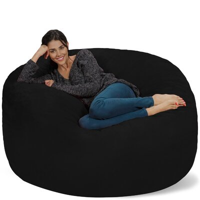 Micro Suede Bean Bag Sofa Upholstery: Black