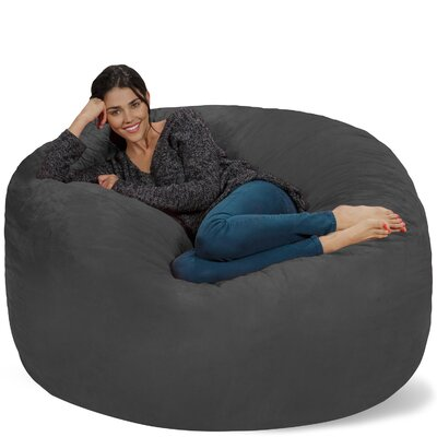 Micro Suede Bean Bag Sofa Upholstery: Charcoal