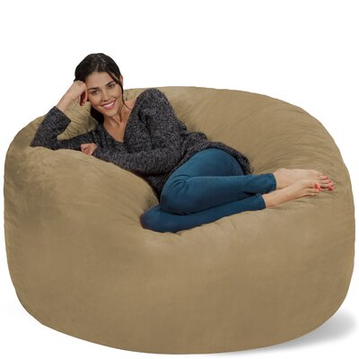 Micro Suede Bean Bag Sofa Upholstery: Camel
