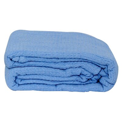 Hampden All-Season Thermal Cotton Blanket Color: Light Blue, Size: King
