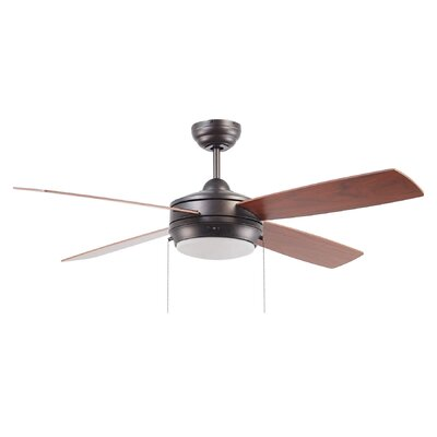 52 Hingham 4 Blade Ceiling Fan Finish: Espresso with Espresso/Dark Walnut Blades, Glass Type: White Frost