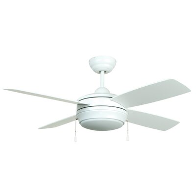 52 Moriarty 4 Blade Ceiling Fan Finish: Matte White with Matte White Blades, Glass Type: Opal Frost