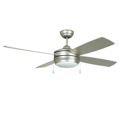 52 Hingham 4 Blade Ceiling Fan Finish: Brushed Pewter with Matte Silver/Maple Blades, Glass Type: Opal Frost