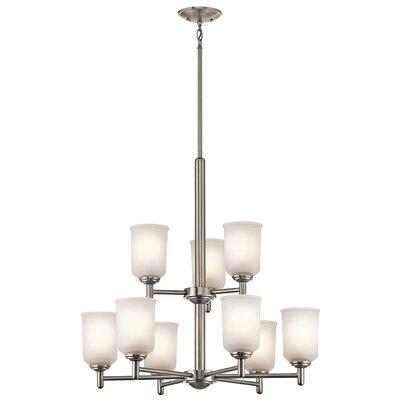 Hopedale 9-Light Shaded Chandelier Finish: Brushed Nickel