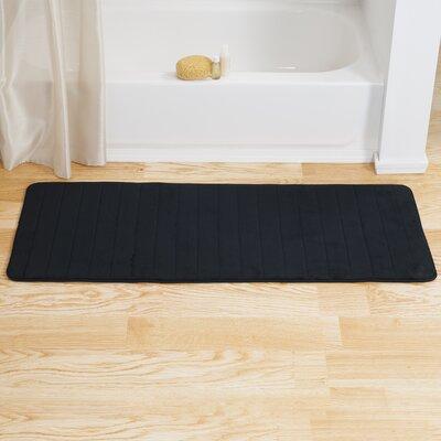 Chadwick Extra Long Striped Memory Foam Bath Mat Color: Black