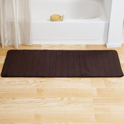 Chadwick Extra Long Striped Memory Foam Bath Mat Color: Chocolate