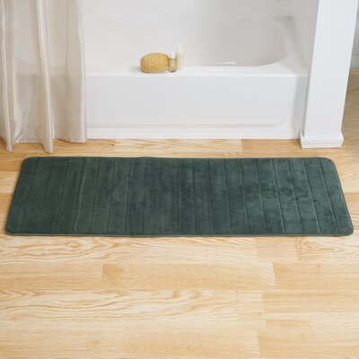 Chadwick Extra Long Striped Memory Foam Bath Mat Color: Green