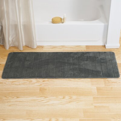 Chadwick Extra Long Striped Memory Foam Bath Mat Color: Platinum