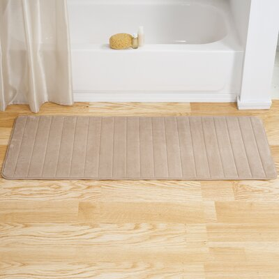 Chadwick Extra Long Striped Memory Foam Bath Mat Color: Taupe