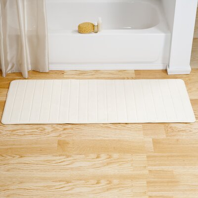 Bibiana Extra Long Striped Memory Foam Bath Mat Color: Cream