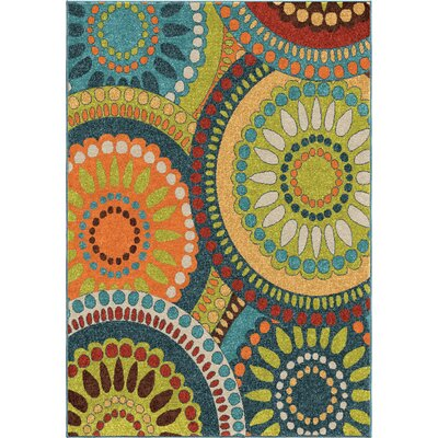 Thurman Blue/Yellow Area Rug Rug Size: 52 x 76